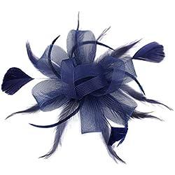 dressfan Diadema Fascinator Sombrero de cóctel Sombrero de malla de malla de pelo Sombrero Sombrero Banquete Boda Pasadores