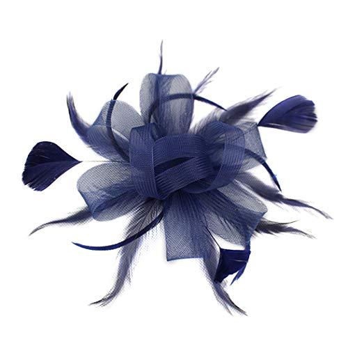 dressfan Stirnband Fascinator Cocktail Hut Feder Mesh Blume Haarspange Hut Bankett Hochzeit Haarspangen