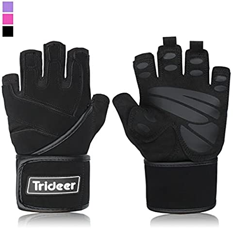 "Trideer Padded Anti-Slip Weight Lifting Gloves with 18"" Wrist Wraps,"