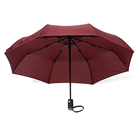 Arcadia extérieur parapluies avec glidetech–Protection maximale de voyage 106,7cm Canopy Parapluie résistant au vent–Ouverture/fermeture automatique–Garantie à vie & # x192;, Bordeaux (Noir) - ao-tu-burgundy-CA