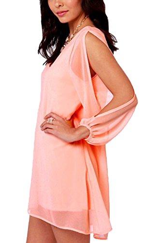 Damen Sommer Langarm V-Ausschnitt Chiffon Kleid Pink