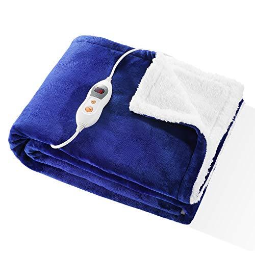 Heizdecke 130 * 180cm Wärmedecke mit Abschaltautomatik Überhitzungsschutz Elektrische Fleecedecken aus Flanell und Shu Velveteen mit 6 Heizstufen