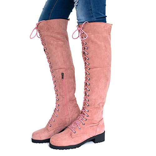 Botas Altas Mujer Botines Largas Serraje Invierno Rodilla Cordones Botas Knee High Boots Planas Tacon Bajo Casual Moda Rosa EU 39