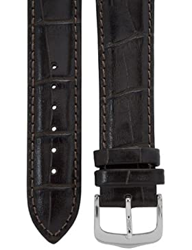 Uhrenarmband 20 mm Leder dunkelbraun, Kroko-Optik, Länge 75x115mm, Aluminium-Dornschließe
