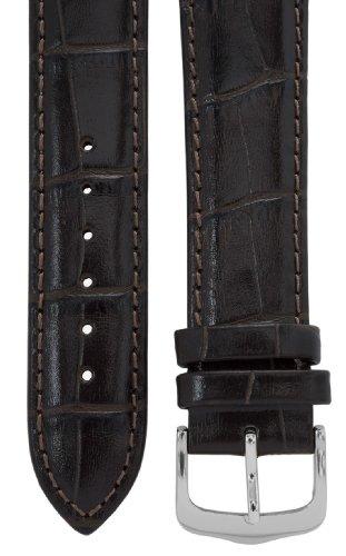 Uhrenarmband 21 mm Leder dunkelbraun, Kroko-Optik, Länge 75x115mm, Aluminium-Dornschließe
