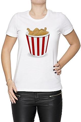 Frit Poulet Femme T-Shirt Cou D'équipage Blanc Manches Courtes Taille