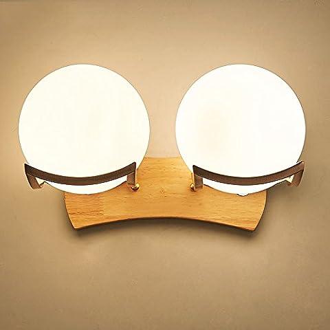 Personnalité créative de style japonais Moderne Simple LED Applique murale Lampes Chambre à coucher Lampe de chevet Lampe murale en bois massif Nordic Wood Aisle Hotel Lampes Diamètre: 16 cm ( Size : Double Heads )