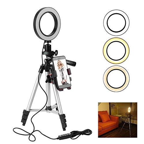 Selfie Ring Light, Dimmable Led Ring Light avec Support de Trépied et Support de Téléphone Portable pour Flux en Direct / Maquillage / Vidéo Youtube / Photographie