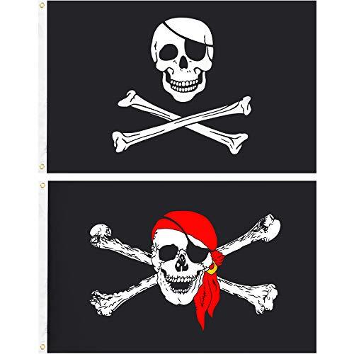 Tatuo 2 Stücke Piratenflagge Jolly Roger Schädel Piratenflagge Crossbones Piratenflagge Halloween Dekoration Fahnen für Piraten Party Halloween Geburtstag Dekorationen und Geschenke (Größe 1) -