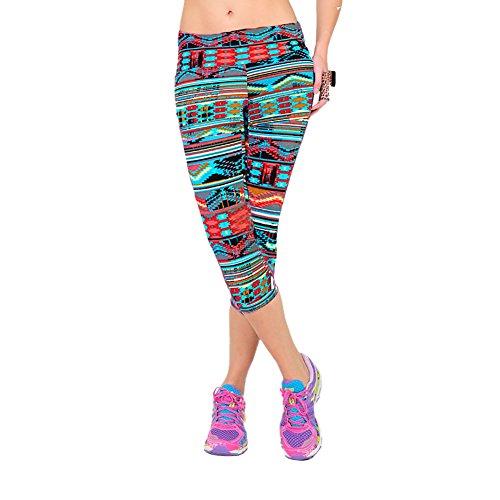 iBaste Leggings de Sport Femme imprimé Jogging Yoga Pantalons Taille Haute Capri Style 13
