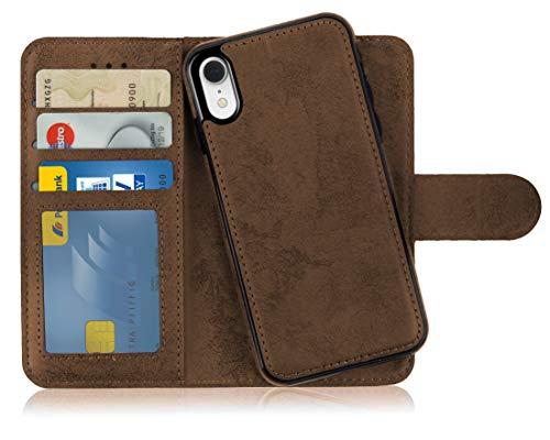 MyGadget Flip Case mit Back Cover [2 in 1] für Apple iPhone XR (NEU) Magnetische Hülle in PU Leder Klapphülle - Kartenfach Schutzhülle Wallet in Braun Apple Iphone Magnet Flip Case