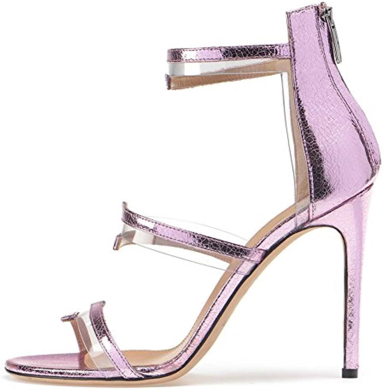 HN Shoes Mujer Verano Sandalias De Tacón Alto Sandalias De Gladiador Peep Toe Zapatos,Purple,EU41/UK9