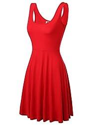 DJT Damen Vintage Sommerkleid Traeger mit Flatterndem Rock Blumenmuster Rot-2 M