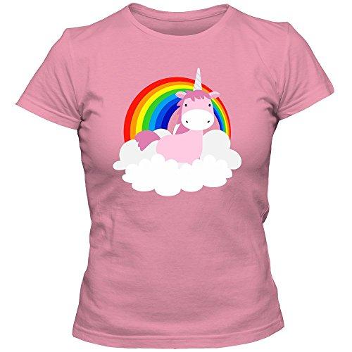 Einhorn Regenbogen T-Shirt | Damenshirt | Unicorn | Fabelwesen | Magie | Regenbogen | Wolken, Farbe:Pink (Orchid Pink L191);Größe:M