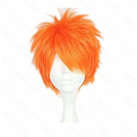 COSPLAZA Cosplay peluca corta naranja Boy Unisex Anime pelo corto completo