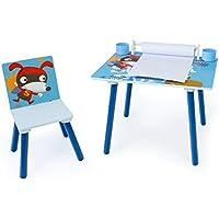 Preisvergleich für Homestyle4u 1763 Kindersitzgruppe Hund, Kindermöbel Set aus 1 Kindertisch mit 1 Stuhl mit Papierrolle, Holz Blau