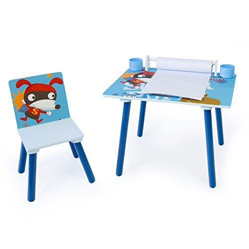 Homestyle4u 1763 Kindersitzgruppe Hund , Kindermöbel Set aus 1 Kindertisch mit 1 Stuhl mit Papierrolle , Holz Blau