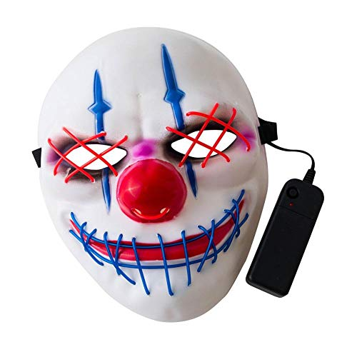 Link Kostüm Dark - awhao 2019 Halloween Maske LED Leuchtmaske für Festival Cosplay Halloween Kostüm, Scary Skeleton Mask, Glow in The Dark Masken, Luminescent Grimace Mask Suitable