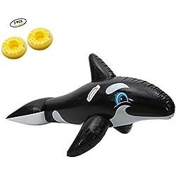 wanxing Riesige Wale Pool Floß Schwimmen Luftmatratze Riesiger Pool Wasser Floß Schwebebett schwimminsel Sommer Wasser Spielzeug zum Kinder Erwachsene (200 * 120CM)