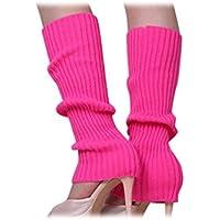 Calentadores de pierna - SODIAL(R)Calentadores de pierna sin pies tejidos de Color solido de mujer Rosado