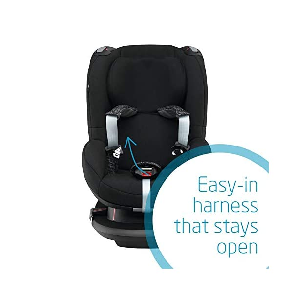 Maxi-Cosi Tobi Toddler Car Seat Group 1, Forward-Facing Reclining Car Seat, 9 Months-4 Years, 9-18 kg, Black Grid Maxi-Cosi Toddler car seat suitable for children from 9 to 18 kg (approximately 9 months to 4 years) Install theMaxi-Cosi Tobi car seatusing the car's seat belt and the integrated belt tensioner ensures a solid fit Spring-loaded, stay open harness to make buckling up your toddler easier as the harness stays out of the way 5