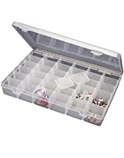 Inditradition 36 Grid Cells Plastic Multipurpose Jewelry Organizer Storage Box - Transparent