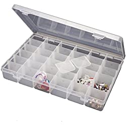 Inditradition Jewelry Organizer Box, 36 Grid Cells Multipurpose Storage Box, With Removable Dividers, Transparent