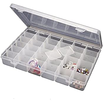 Jianhua 36 Grid Cells Multipurpose Clear Transparent Plastic Storage Box with Removable Dividers