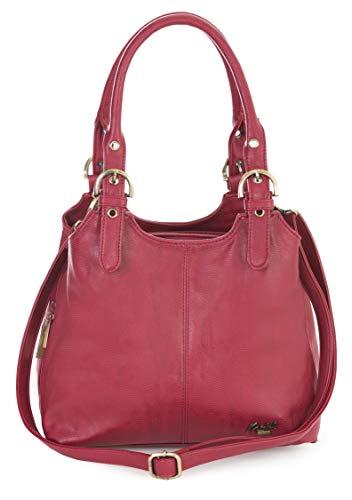 Mabel London Mehrfachtaschen Mittlere Größe Umhängetasche/Schultertasche für Frauen - Mit langem Schulterriemen - AMELIA (Rot) - Armband Damen-schulter-tasche