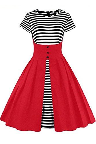 Babyonlinedress Robe de soirée/Cocktail Courte à Rayures Rétro Vintage année 50 Style Audrey Hepburn Rockabilly Swing avec 1/2 Manches Rouge-Courte