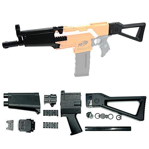 WYSWYG Mod Upgrade Aussieht Stcok Kit für Nerf Stryfe mit Schulterstützen, Patch-Adapter für die Seitenschienen, Verkleidungsverlängerungen und Versteller für das Vordere Rohr (Schwarz)