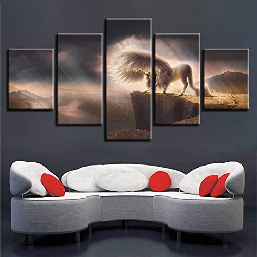 mmwin Leinwand Wandkunst Dekor Zimmer HD Gedruckt 5 Stücke Tier Weißes Pferd Mit Es Flügel Bild Mountain River Scenery s Modular