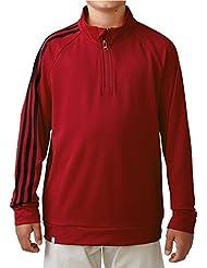 junioren 2016Adidas 3rayas Hülse 1/4Zip Pullover Educación Infantil Golf Sweater, niño, color Power Red, tamaño 8 Years