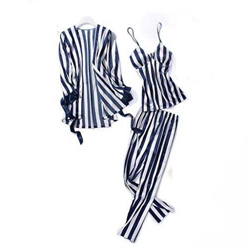 TYTUOO Damen Nachtwäsche Fashion Striped Pyjamas Bademantel Long Trousers Nightwear 3PC Set