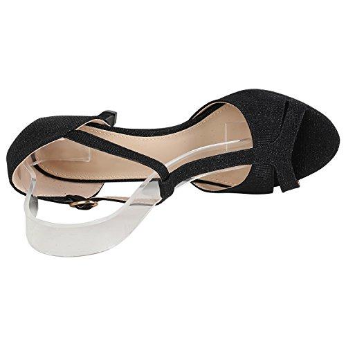 Damen Schuhe Riemchensandaletten Sandaletten High Heels Glitzer 156072 Schwarz Carlet 40 Flandell - 3