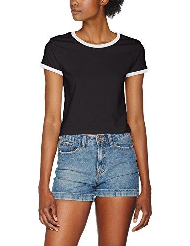Urban Classic TB1502 Damen T-Shirt Ladies Cropped Ringer Tee TB1502, Gr. X-Small, Mehrfarbig (Blk/Wht 50) (Art-damen-ringer)