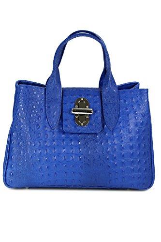 BELLI ital. Echt Leder Handtasche Henkeltasche royal blau Kroko Prägung - 36x25x18 cm (B x H x T) (Leder Handtasche Prägung)