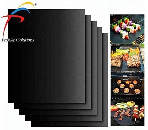 MPFpro Solution, Tappetino BBQ, Stuoia Grill Barbecue, Grill Mat Antiaderente, Privo PFOA, Riutilizzabile, Lavastoviglie, Alte Temperature,Nero, Set 4 Stuoie Teflon, Cucinare Dolci,40x33cm
