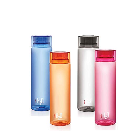 Cello H2O Unbreakable Bottle , 1 Litre, Set of 4, Colour May Vary