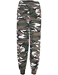 Home of Fashion Womens Cream Green Camouflage Army Print Harem Trousers