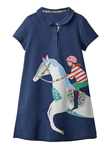 OHBABYKA Cute Baby Girls Casual Baumwolle Tiere gedruckt Streifen Kurzarm Playwear Kleid (6T, ()