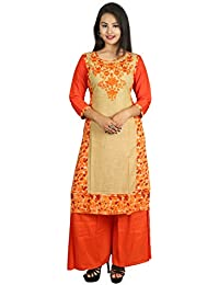 Irija Market Kurti For Women's /Girl's Premium Designer Collections Women's / Girl's Orange Straight Kurti / Kurta)