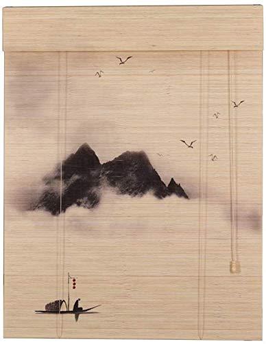MJK Home Bambus-Vorhang Roll up Jalousien, Oriental Landschaft Rollos, Wandbehang Decor Rollo,130 × 180cm