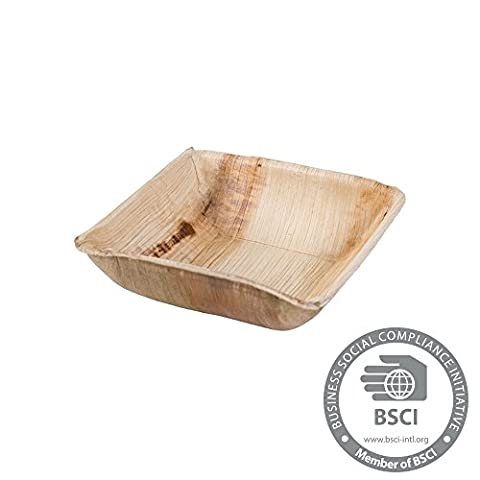 25x disposable Palmleaf bowl |300ml, 13x13cm, square |100% biodegradable, compostable | individual, decorative grain |stabil & robust | for salads, soups,