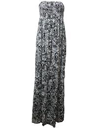 Nouveau femmes tonte recueillir boobtube bandeau dames bustier longue d'été maxi robe plus la taille toute couleur 44-50 XL / XXL (36-38, Crâne impression)