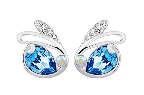NEVI Swan Animal Fashion Swarovski Elements Rhodium Plated Stud Earrings Jewellery for Women And Girls (Blue & Silver)