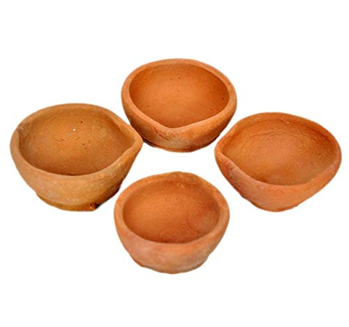Hashcart Öllampe, handgemacht, indischer traditioneller Pooja-Erdton/Terrakotta, 21 Stück