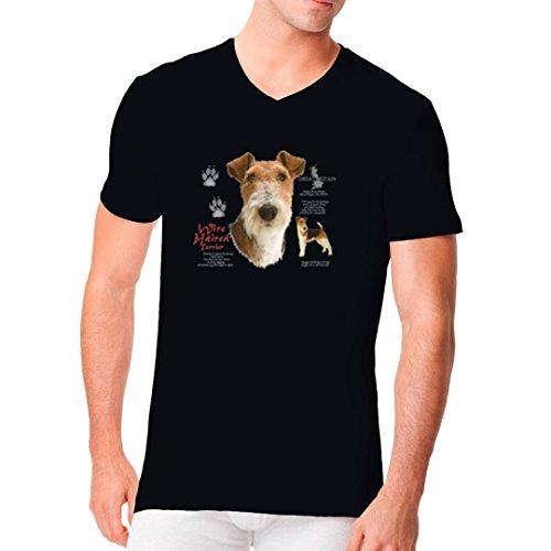 Im-Shirt - Hunde Shirt: Drahthaarterrier, Wire Haired Terrier cooles Fun Men V-Neck - verschiedene Farben Schwarz