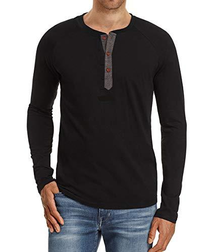 Double Layer Tee Top (Herren Langarmshirt Mit Grandad-Ausschnitt Longsleeve Shirt Herbst Casual Henley Shirt Premium T-Shirt Langarm Oversize für Männer)