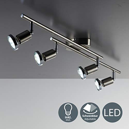LED Deckenleuchte Schwenkbar inkl. 4 x 3W 250LM GU10 LED Lampen, Warmweiß, LED Deckenlampe, Deckenspot